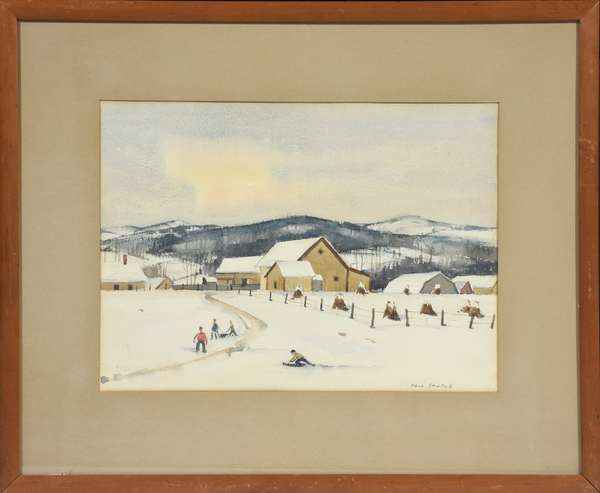 "Paul Sample watercolor, ""Farmer's Children in the Snow"", 11"" x 14.5"", with Montclair Art Museum exhibition label and Ferargil Gallery, New York label on reverse"
