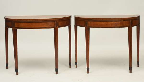 Pair of Hepplewhite inlaid satinwood games tables with fold over tops revealing a tooled leather surface, ca.1800, 36