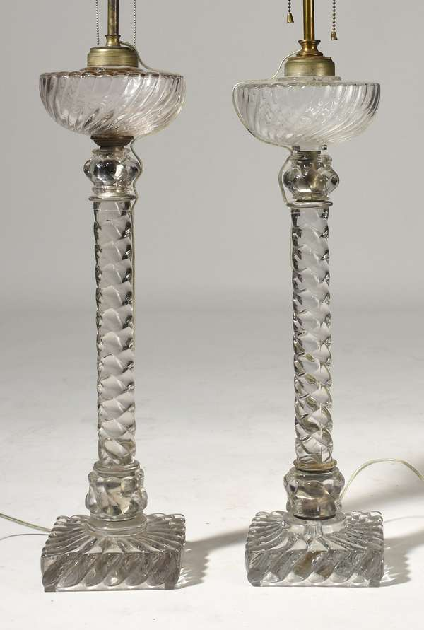 """Pair of Baccarat banquet lamps, electrified, 22.5"""" glass, 34"""" overall"""