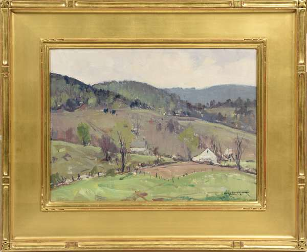 "Oil on canvas board, Vermont Mountains, by Charles Curtis Allen, 12 "" x 16 """