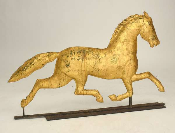 Running horse weathervane with gilt surface, 35