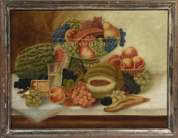 19th C. American school oil on canvas, still life with fruit on marble-top table, 23.5