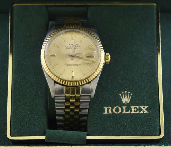 Men's Rolex 18K gold and stainless wrist watch, Oyster Perpetual Datejust with original box