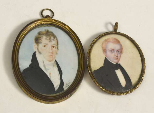 "Two early 19th C. miniature portrait paintings, larger example 3.5"" x 2.25"" overall signed Doyle 1806, the other well painted 2.75"" x 2.25"" - from an old North Shore family"