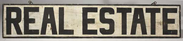 "Antique ""Real Estate"" sign - double sided, 11.5"" x 60""L."