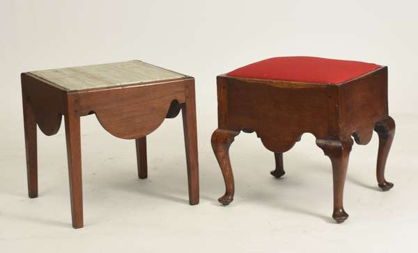 "(2) 18th C. commode stools, QA example with an upholstered slip seat ca.1760, the other filled with a marble top - used as a drink stand ca.1790, approx. 18""H. x 16-17"" square"
