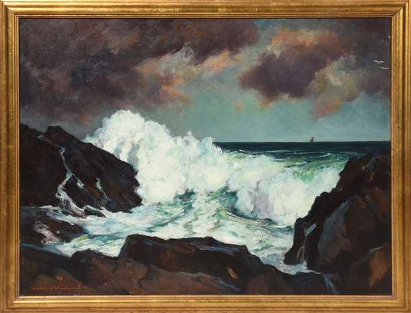 "Oil on canvas, crashing waves along the New England coast signed Stanley Woodward, 28"" x 36"""