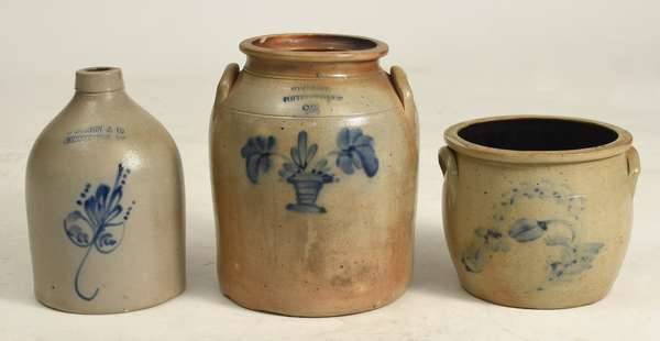 "Three pieces of decorated stoneware"" two gallon crock Somerset Pottery Works flower basket, Norton Bennington jug and small crock"