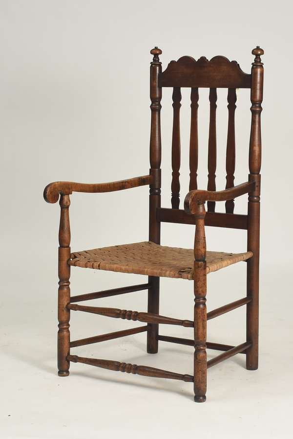 "New England William & Mary banister back arm chair ca.1750, 16"" seat height, 44""H. overall"