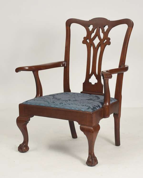 """Philadelphia Chippendale mahogany open arm chair with claw and ball feet ca.1770, 16"""" seat height, 39""""H. overall"""