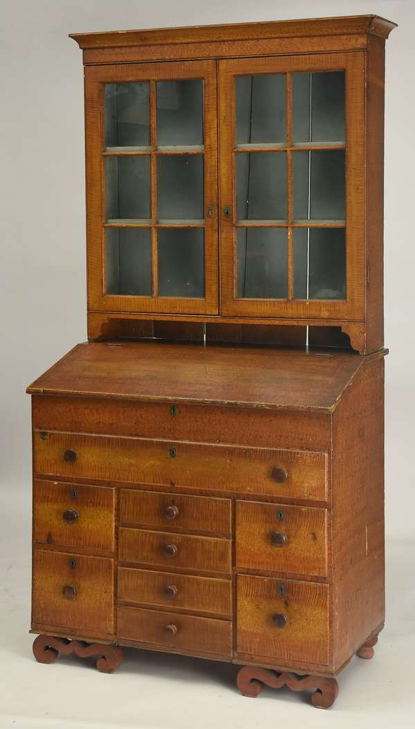 """Two-part Vermont 19th C. country grain painted desk with bookcase top, Bennington VT family, 87""""H."""