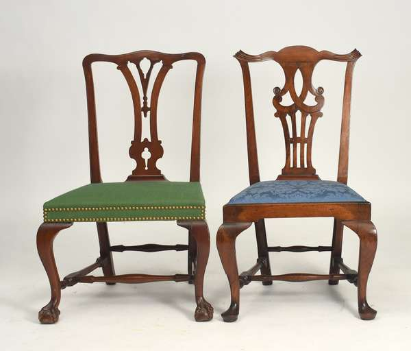"Two MA Chippendale mahogany side chairs, ca.1760, one with claw and ball feet, one with pad feet, seat height 16.5"", 17"""