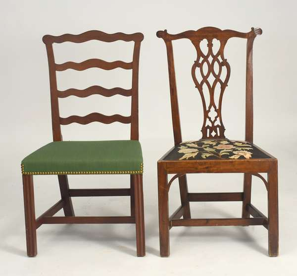 Two late 18th C. American Chippendale side chairs, with Marlboro legs, seat height 17.5""