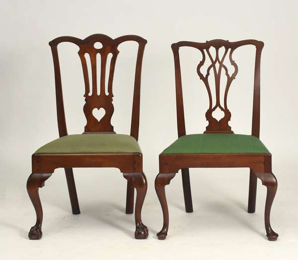 Pennsylvania walnut Chippendale side chair with claw and ball feet ca.1760, with a Pennsylvania Chippendale side chair with an open work splat, and cabriole legs with pad feet ca.1760