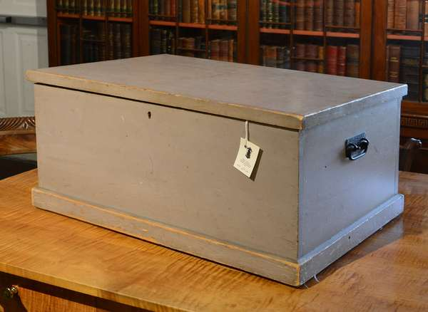 "19th C. grey painted Shaker MT Lebanon linen box with till and original hardware, 13""H. x 26""L, with 2 Shaker bonnets,"