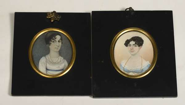 "Two early early 19th C. miniature portrait paintings of young ladies, one signed on reverse William Verstille, 3"" x 2.5"""