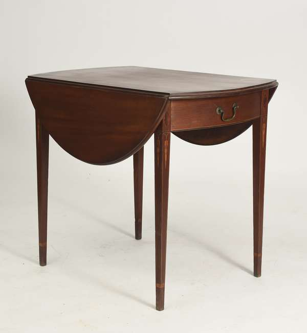 "Hepplewhite inlaid mahogany Pembroke table with icicle inlay, ca. 1800, 32""L. x 21.5""W. closed, x 27.5""H."