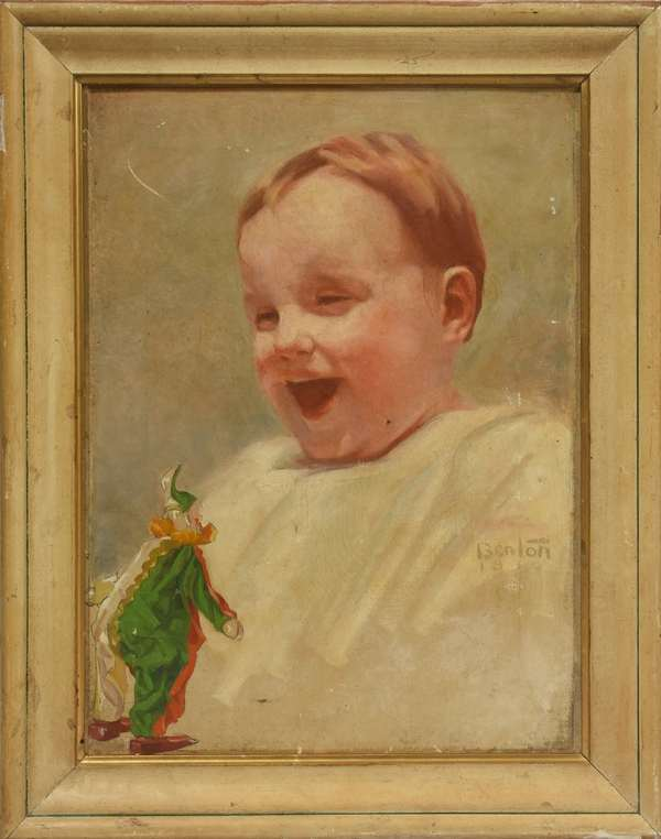 "Oil on canvas, baby with clown, by Harry Stacey Benton, Salmagundi label on reverse, signed ""Benton 1910"", 16"" x 12"""