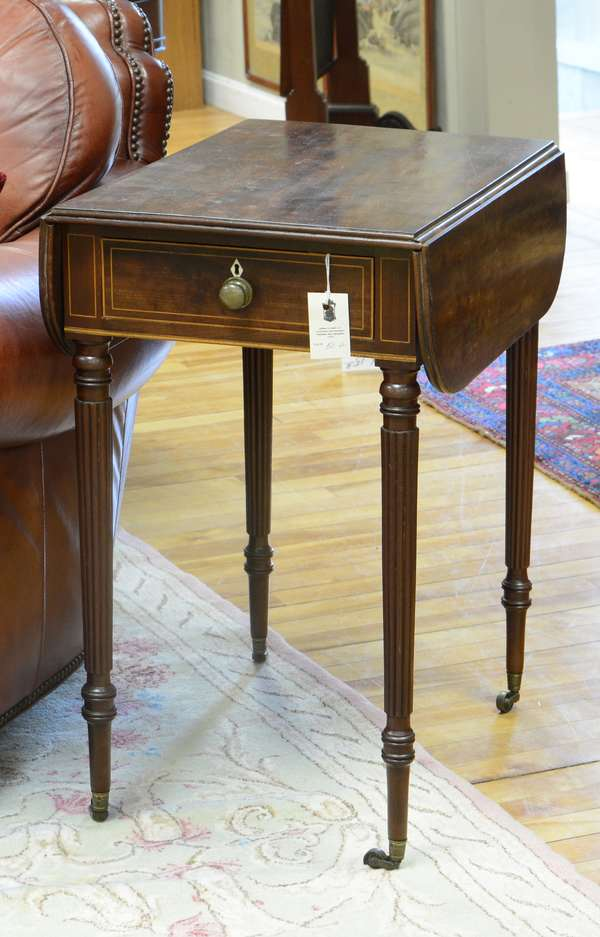 "Fine Federal Boston area inlaid reeded leg one drawer stand ca.1815, 28""H. x 16""W. x 24""D."