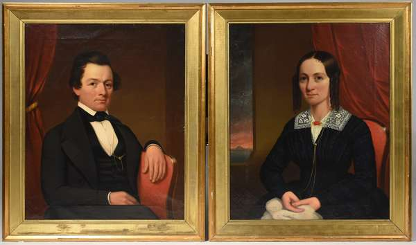 "Pair of period New England portraits, oil on canvas, a noblewoman and her husband, 34"" x 27"""