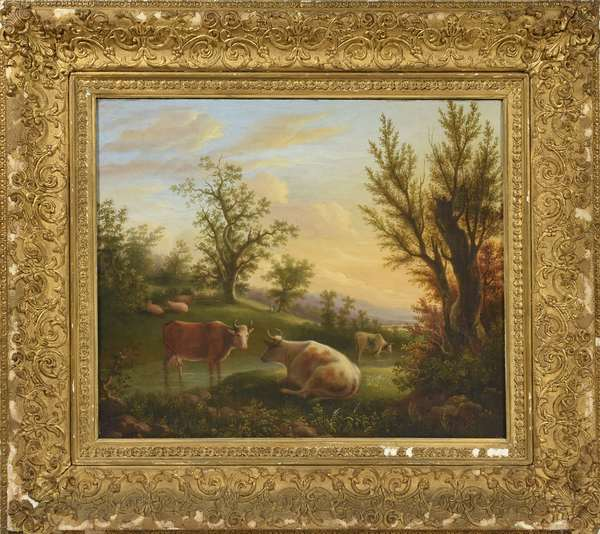 "Mid 19th C. American school oil on canvas, cows in landscape, 14.5"" x 7"""
