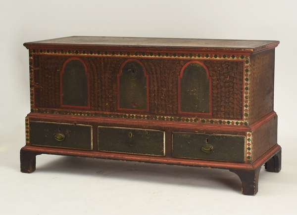 "Chippendale 18th C. paint decorated PA dower chest, old hardware original paint, feet replaced, 29.5""H. x 50""W. x 23""D."