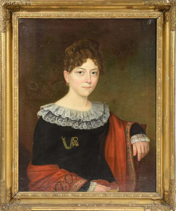 "Early 19th C. American school oil on canvas,  a portrait of Mrs Mary Ann Patrick wife of Sir John Patrick of NY, 30"" x 24"".  With this lot are letters written 1818-1830's to the sitter Mary Ann Patrick from the Patrick family of Scotland. One letter dated 1818 congratulates the sitter on her marriage a year earlier, another from 1826 expressing condolence for the loss of her husband John Patrick, who was a twin."