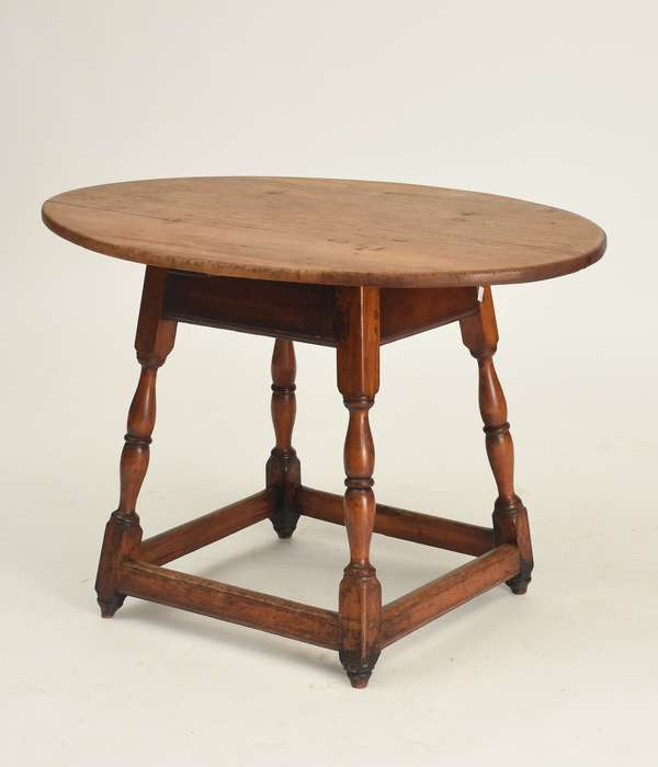 "18th C. New England maple/pine oval top stretcher base small size tavern table, 22.25""H., top: 33.75""W. x 23.75"""