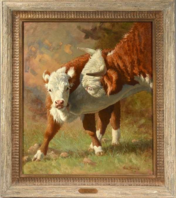 "Oil on canvas, ""A Good Lickin"" by Wayne Baize, 1996, 32"" x 28"""