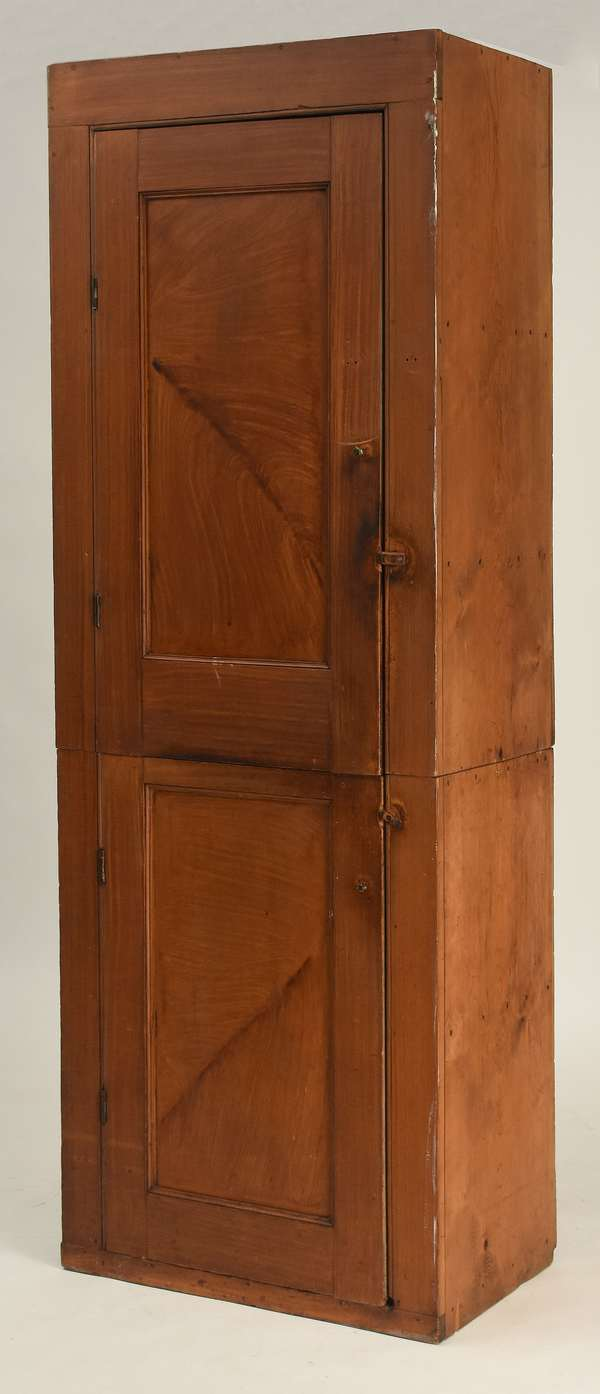 Early 19th C. feather grain painted two-part chimney cupboard, 88