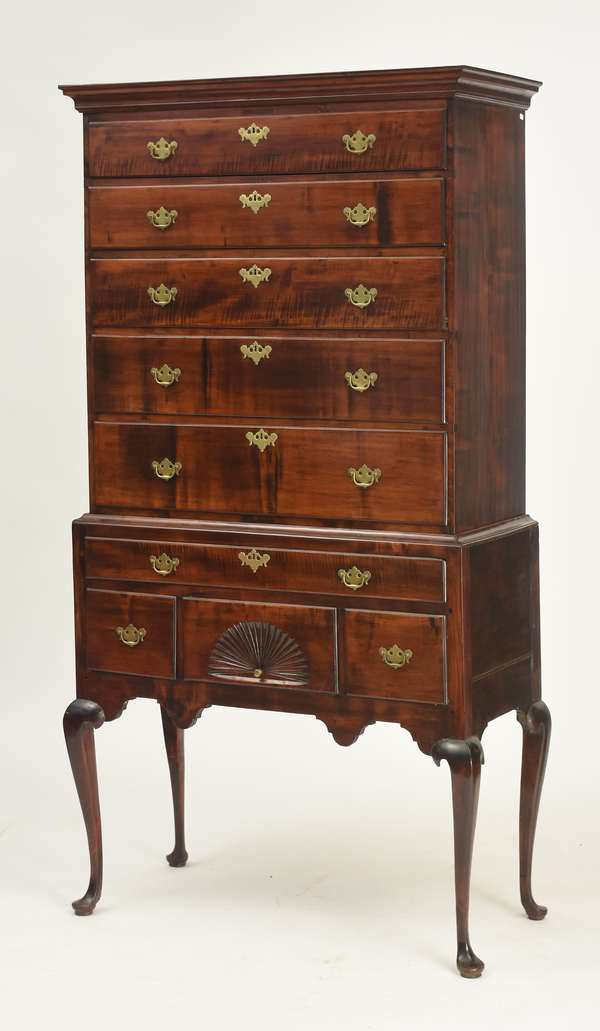 """18th C. tiger maple Queen Anne two-part highboy with cornice molded top, upper case with five graduated drawers lower case with with four drawers inc. a fan carved drawer on cabriole legs ending on pad feet, 38""""W. x  76""""H. x 19.5""""D."""