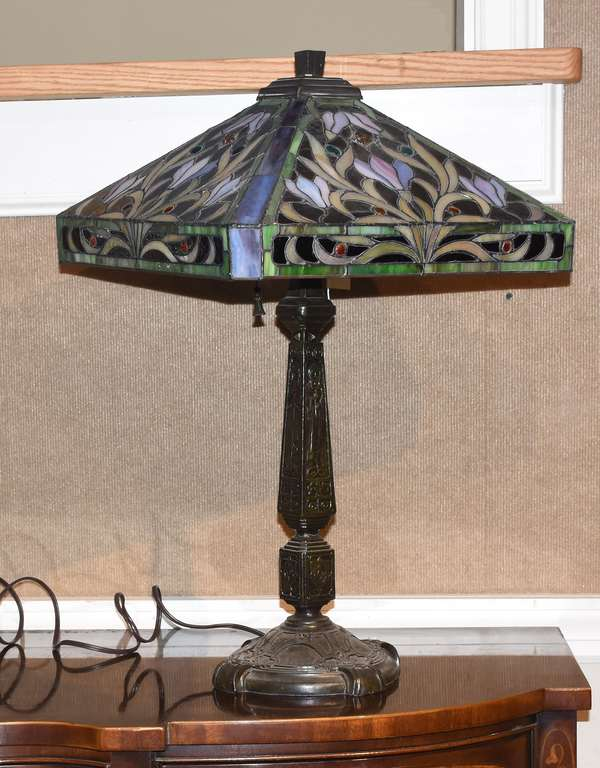 """Tiffany-style table lamp with bronze base, 29""""H. overall, shade 23""""Dia."""