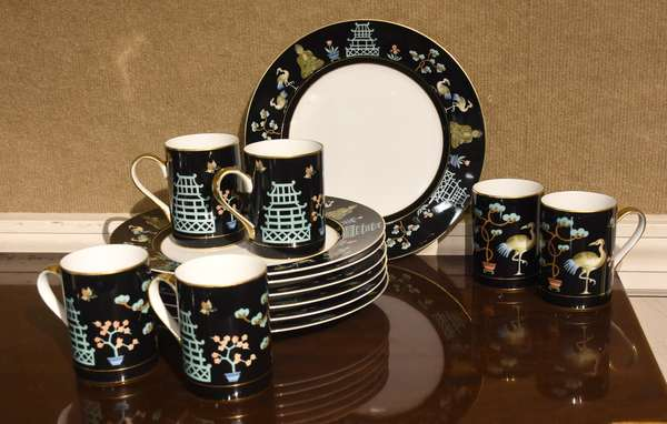"""Fitz and Floyd """"Chinoiserie"""" set of eleven plates, with six coffee mugs, 10.5""""Dia."""