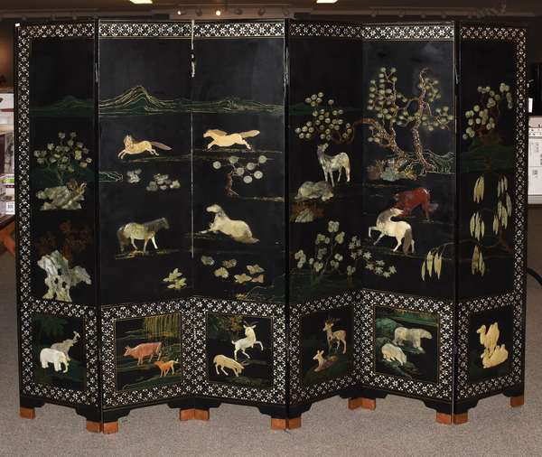 """Chinese six-panel folding screen with mother-of-pearl and hard stone inlay, horses and animal motifs, 72""""H. x 96""""W."""