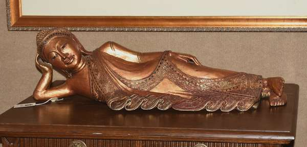 """Decorative reclining Buddha statue, gilded with jewels, 35""""L."""