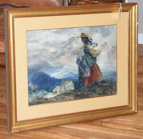 """Watercolor of Peruvian woman in landscape, signed Eileen Monaghan lower left, 15.5"""" x 21"""""""