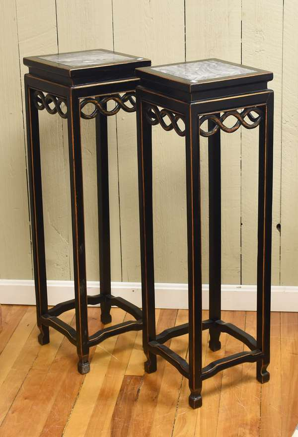 """Pair of Chinese marble top and ebonized fern stands, 36""""H."""