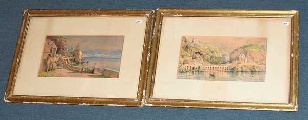 """Pair of finely painted European watercolors, Mediterranean scenes, 6"""" x 11"""" sight size, both signed"""
