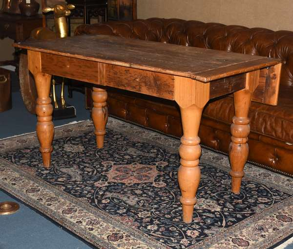 """Single drop leaf pine farm table with turned legs and breadboard ends, 54""""L. x 28""""W. x 30""""H."""