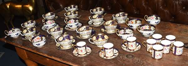 Lot of English porcelain tea and coffee cups, Staffordshire, Paragon, 47 pieces