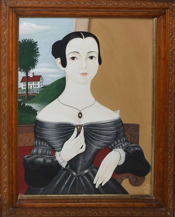 "Oil on paper board, Folk Art portrait of young Victorian girl, 25"" x 19"""