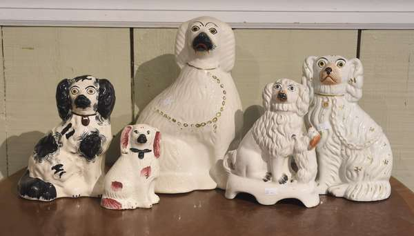 """Collection of five early Staffordshire dogs, one with pup, sizes from 5"""" - 11""""H"""