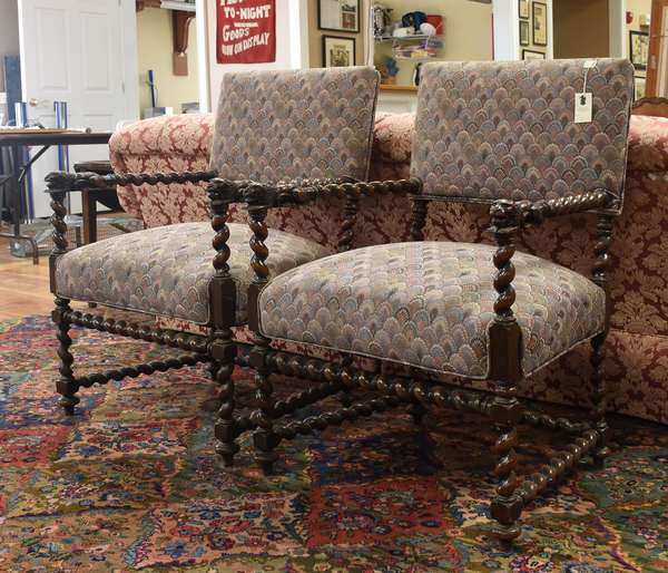 """Pair of late 19th C. unique turned barley-twist open armchairs with carved lion arm rests, 25""""W x 38""""H"""