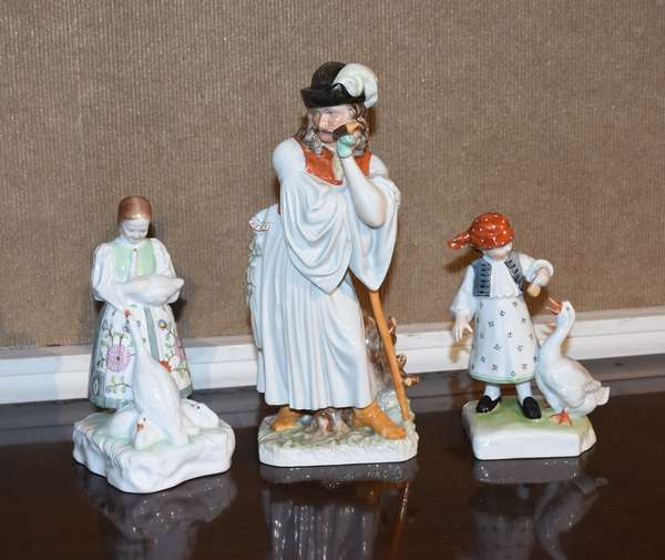 """Group of Herend figurines, man leaning on staff, 12""""H, with two girls with geese, 7"""", 8""""H, 3 pieces"""