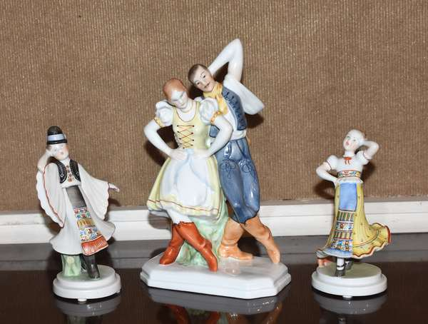 """Group of three Herend figurines, couple dancing, 10""""H, with two smaller figures dancing, 6.5""""H, 7""""H"""