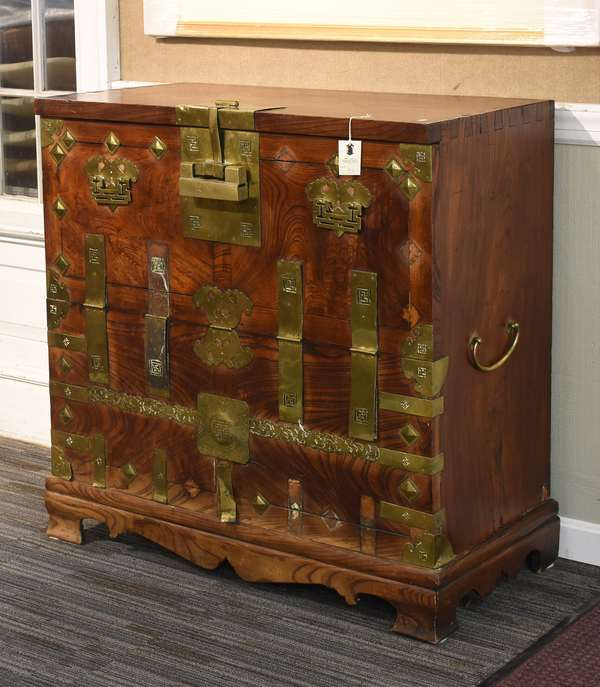 """Antique 19th C. Asian Tansu chest, on base, brass bound, 40""""W. x 18""""D. x 40.5""""H."""