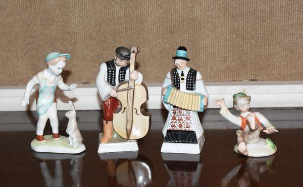 """Four figurines, two Herend musicians, Herend boy and frog, and other boy with rabbit, 3"""" - 6""""H"""