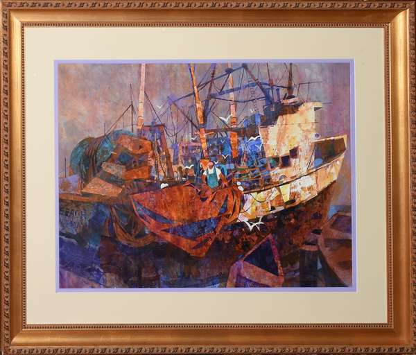 """Watercolor signed A. Lindmark, Cape May harbor, 21"""" x 28.5"""""""