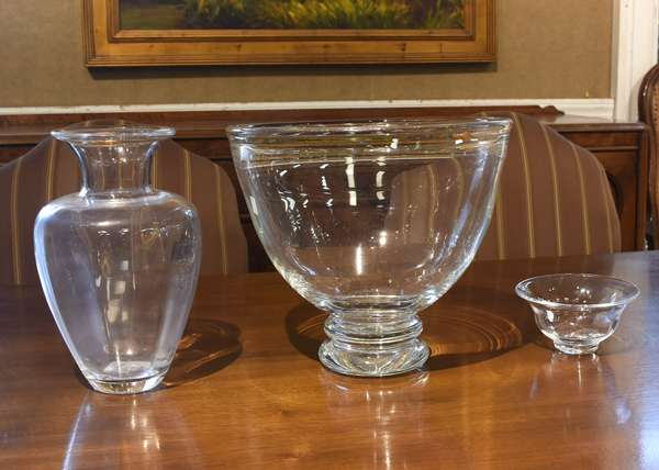 """Three pieces of Simon Pearce glass, large center bowl, 11""""H, vase, 11""""H, and a small bowl, 6"""" dia"""