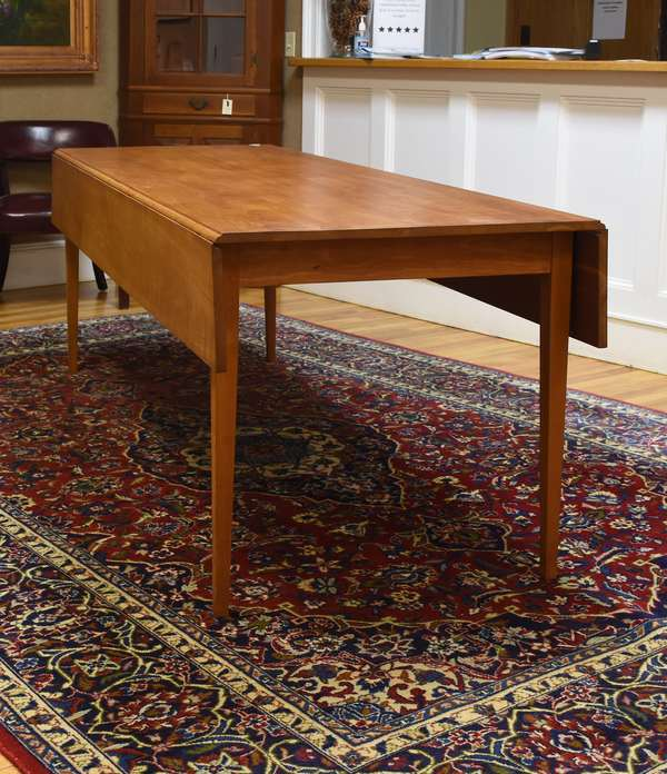 """Fine cherry drop-leaf harvest table on tapered legs by Thomas Moser, 83.5""""Lx 30""""H x30""""W leaves closed, 47.5""""W leaves open ( this was a special order table)"""